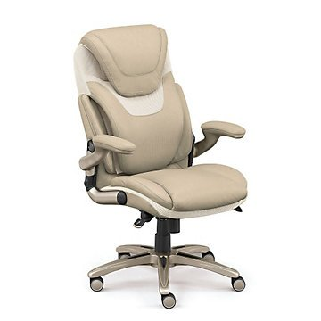 Flexible Ergonomic Executive Chair w/Flip Arms (Black Faux Leather/Gray Mesh Iridescent Silver) by OFF!