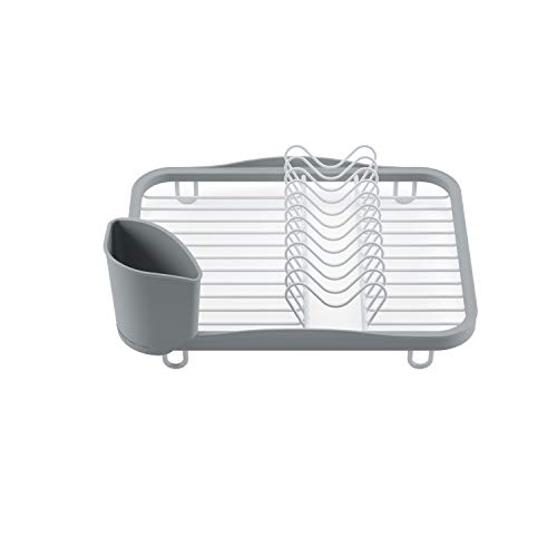 Umbra Sinkin, Kitchen Countertop, White/Grey Drying Rack – Dish Drainer Caddy with Removable Cutlery Holder Fits in, Over Sink or on Counter top, Medium