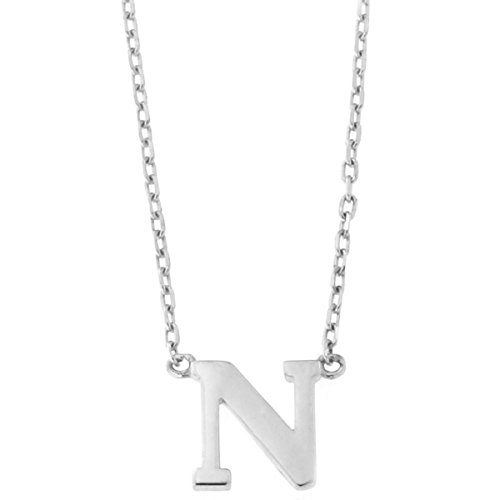 14k White Gold Tiny Initial Pendant Necklace, 16 Inches - N