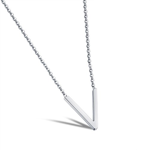 [Letter V Pendants Necklace Girls Initial Silver-Plated Stainless Steel Long Chain 15 Inch Dalaran] (Old Navy Halloween Costumes Elephant)