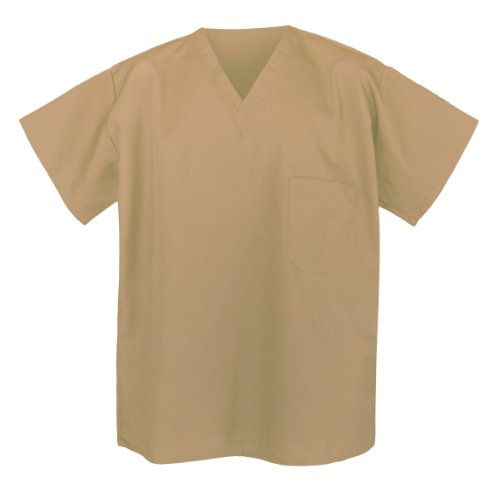 Beige Scrubs SHIRT TAN Scrub Shirts Khaki Scub Tops (Medium)