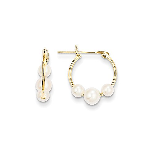 14k Gold Cultured Pearl Hoop Earrings (0.59 in x 0.16 in)