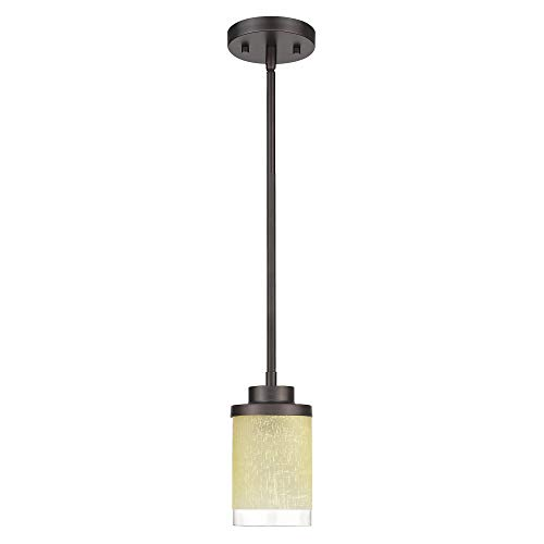 Mini 1-Light Hanging Pendant Light, Jazava Modern Adjustable Length Hanging Ceiling Light for Farmhouse, Oil Rubbed Bronze Finish with Yellow Linen Frosted and Clear Glass Shades