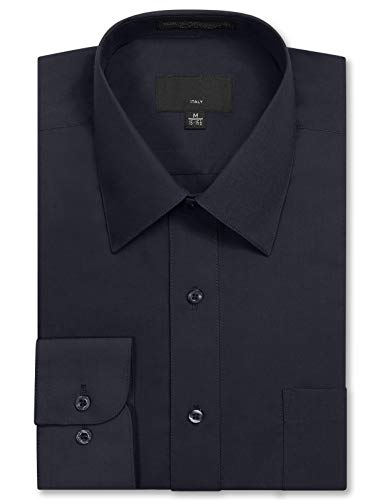 - JD Apparel Mens Long Sleeve Regular Fit Solid Dress Shirt 16-16.5 N 36-37 S Navy Charcoal,Large