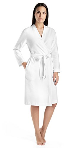 Hanro Women's Cotton Pique Robe, White, - Waffle Robe Pique