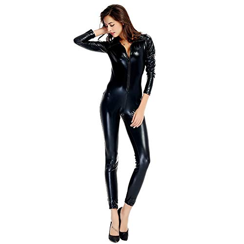 Women's Catsuit Women Patent Leather Jumpsuit with Front Zipper and Long Sleeve Sexy Wet Look Bodysuit Party Clubwear Outfit Perfect Birthday Present