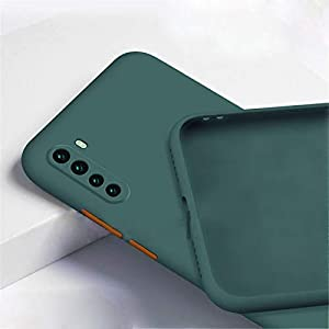 mobistyle soft matte silicone tpu shockproof back cover case for oneplus nord (dark green) – Green