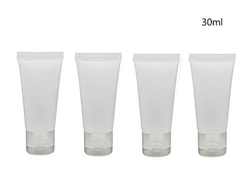 24Pcs 30ml (1oz) Empty Translucent Plastic Cosmetic Lotion Tubes Bottles Shampoo Facial Cleanser Makeup Sample Soft Container Tube Bottle Vial Jar Pot Case with Flip Lid ()