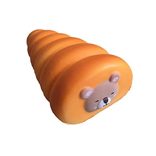 NXDA Simulation Bread Bear Rebound Squeeze Toy Fruit Fragrance Child Adult Pressure Reliever About 12x6x4cm (Orange) from NXDA