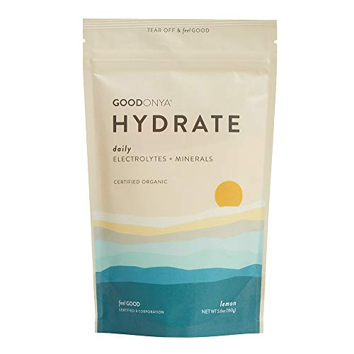 Hydrate Electrolyte + Mineral Powder by GOODONYA®. Certified Organic | Real Lemon Juice | No Added Sugar | Non GMO | Plant Based | Keto-Friendly | Clean Recovery Drink- 5.6 oz [20-Servings] ()