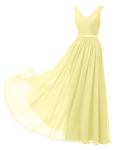 Alicepub V-Neck Chiffon Bridesmaid Dress Long Party Prom Evening Dress Sleeveless, Yellow, US8