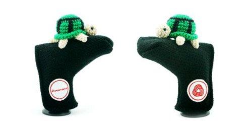 Amimono Turtle Putter Golf Head Cover, Black/Green