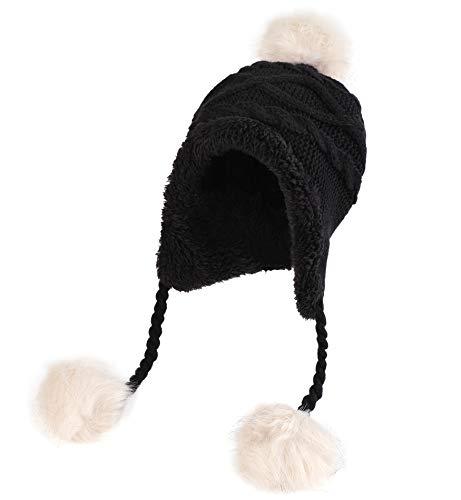 Sumolux Soft Warm Earflap Hood Beanie Hat for Girls Women Knitted Pom Pom Winter Hats