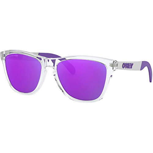 Oakley Men's OO9428 Frogskins Mix Round Sunglasses, Polished Clear/Violet Iridium Polarized, 55 mm