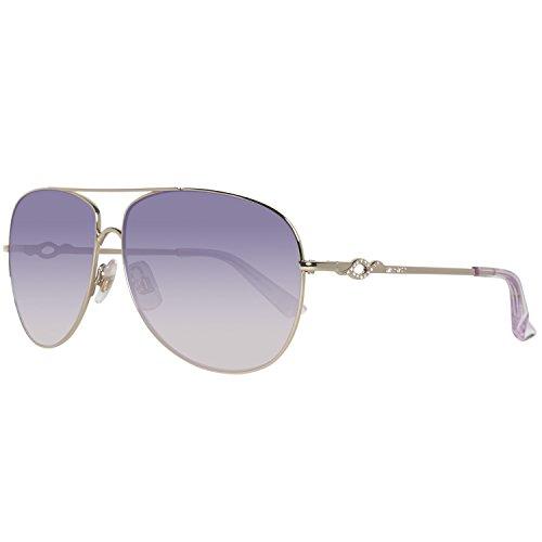 Shiny Violet Transparent Sunglasses - Swarovski Eyewear Aviator Sunglasses (Pale Gold and Transparent Violet)