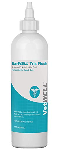 VetWELL Dog Ear Cleaner Solution & Infection Treatment for Dogs & Cats, Anti-Fungal Tris Otic Cleanser Drops Kills Yeast, Odor Helps Relieve Infections Due to Yeast, Mites & Bacteria - 12oz