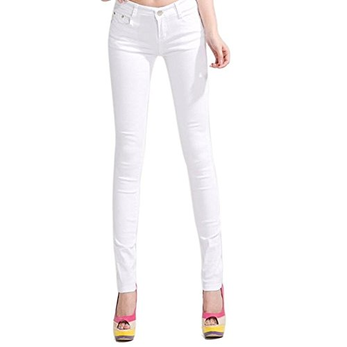 Yelete Women's Basic Five Pocket Stretch Jegging Tights Pants, White, Medium