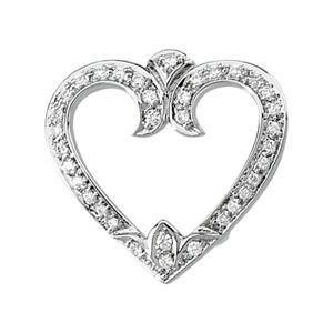 Or blanc 14 carats avec pendentif en forme de cœur avec diamants bruts 1/4 carat-JewelryWeb