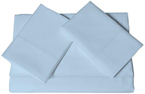 Tribeca Living Egyptian Cotton 800 Thread Count Hemstitched Extra Deep Pocket, King Sheet Set, Blue