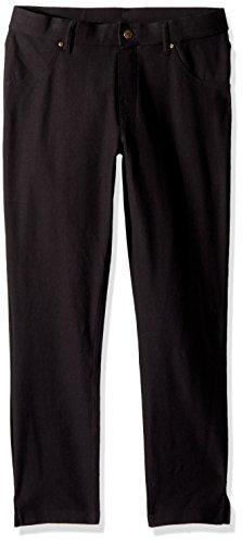 (HUE Women's Ankle Slit Essential Denim Capri Leggings, Black, XS)