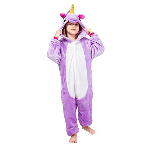RONGTAI Kids Unisex Animal Flannel Unicorn Onesie Pajamas Cosplay Costume(125#( 55