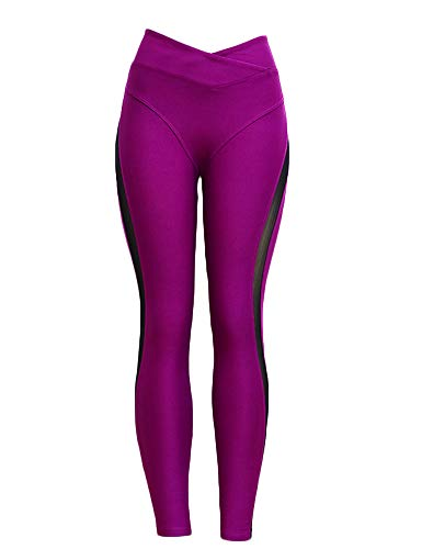 Hioinieiy Women's Scrunch Butt Lifting Leggings Womens Hight Waisted Tummy Control Sheer Mesh Booty Enhancing Yoga Pants for Women Hot Pink XL