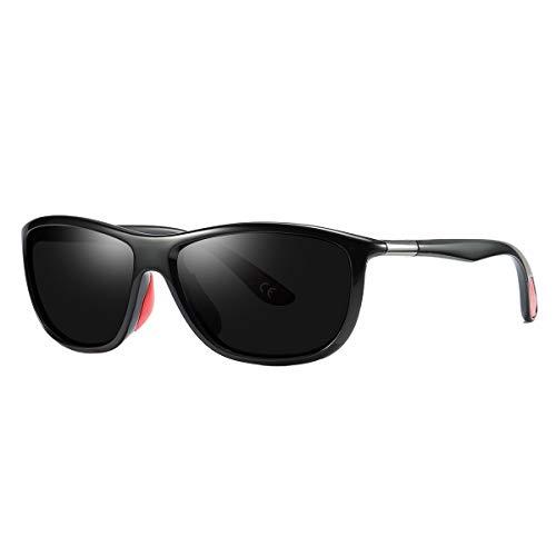LW Sport Sol UV400 BVAGSS De Protección Black Lens Polarizado Clásico Gafas Hombres Black Frame WS068 SExSXzwnqA