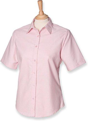 Henbury Women's Classic Oxford Short Sleeve Shirt Pink (Ladies Classic Oxford Shirt)