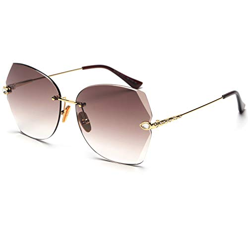 FAGUMA Rimless Diamond Cutting Lens Sunglasses For Women Rhinestone 100% UV Protection
