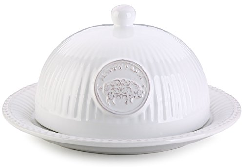 YHY Butter Dish with Lid, White Round Dome Butter Keeper/Tray, 8.25-inch by 4-inch, Elegant Relief
