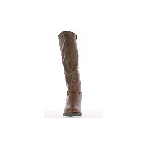 Bottes femme marrons doublées à talon de 6,5cm