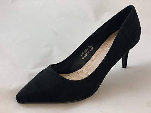 Bella Marie Marque-4 Women's Pointed Toe Low Mid Kitten Heel Slip On Pumps Shoes Black 8.5