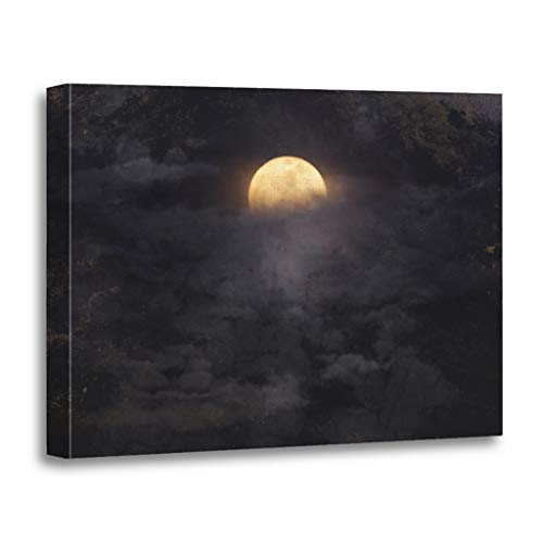 Emvency Painting Canvas Print Wooden Frame Artwork Blue Spooky Abstract Night Sky Full Moon for Halloween Fog Decorative 16x20 Inches Wall Art for Home Decor -