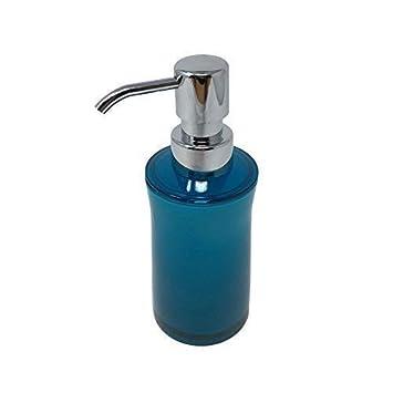 Liso Transparente Azul Verdoso Blanco Redondo baño dispensador jabón H18CM x w6.5cm: Amazon.es: Jardín