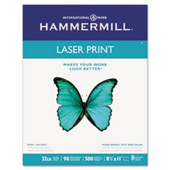 ** Laser Print Office Paper, 98 Brightness, 32lb, 8-1/2 x 11, White, 500 Sheets/RM **
