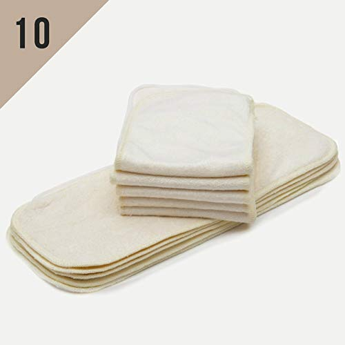 (10/Pack Kawaii Baby One Size Mom Label Bamboo Inserts NO Microfiber OR Fleece Inside for Pocket or Cover Diapers from Nora's Nursery - One Size Fits All for Boy and Girl)