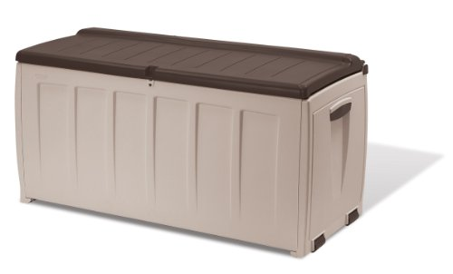 Keter Deluxe Plastic Storage Box Container Outdoor Garden Furniture, 340 L - Beige/Brown