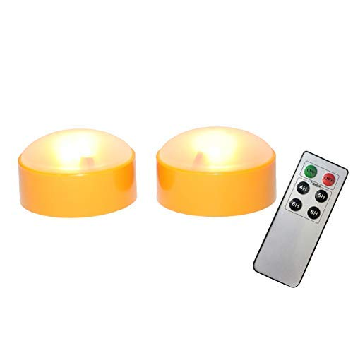 iZAN Halloween Battery Operated LED Pumpkin Lights with Remote and Timer, Bright Flickering Flameless Candles for Pumpkin Decor, Jack-O-Lantern Halloween Party Home Decorations, Orange Color, 2 Pack