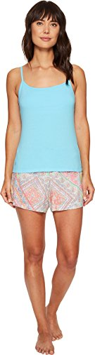 LAUREN Ralph Lauren Women's Shelf Bra Cami Woven Boxer PJ Set Turquoise Top/Patchwork Paisley Shorts Large Embroidered Cami Set