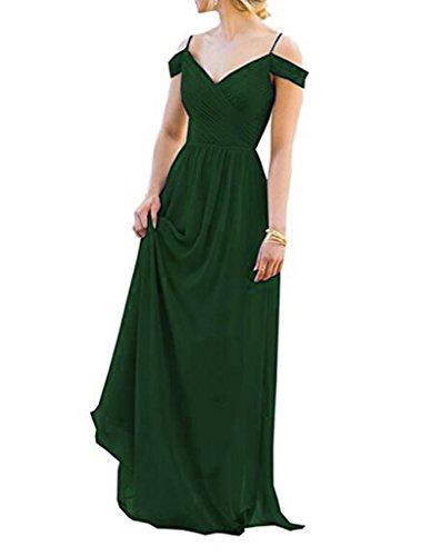 Dkbridal Longue Manches Courtes En Mousseline De Soie Bridesmiad Robe De Bal Vert Foncé