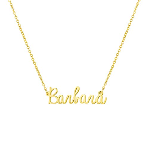 Awegift Personalized Name Necklace 18K Gold Plated New Mom Bridesmaid Gift Jewelry for Barbara ()