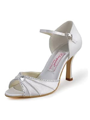 Elegantpark EL-033 Women's Wedding Peep Toe High Heel Sandal Pumps Pleated Satin Bridal Shoes
