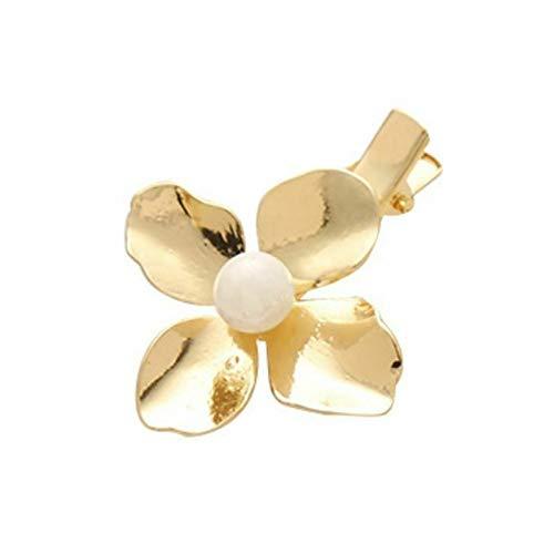 Metallic Gold Hair Clips Girls Flower Shape Minimalist Duckbill HHairpins Pearl (Color - 5) ()