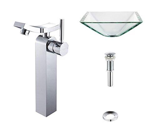 - Kraus C-GVS-901-19mm-14300CH Clear Aquamarine Glass Vessel Sink and Unicus Faucet Chrome