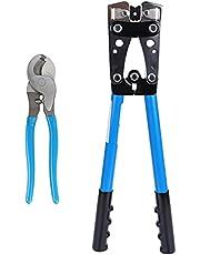 DyniLao presstång med kabelskärare, 6–50 mm², för kabelskor, krymptång för 10, 8, 6, 4, 2, 1/0 AWG, kabelskärare och krympning, 2 stycken