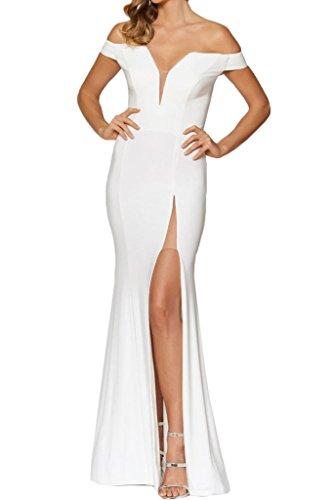 Partykleid Schulter Ivydressing Damen Chiffon Ab Weiß Festkleid Schlitz von Abendkleid Promkleid Hochwertig der qAq86