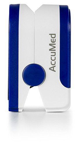 AccuMed-CMS-50D-Pulse-Oximeter-Finger-Pulse-Blood-Oxygen-SpO2-Monitor-w-Carrying-case-Lanyard-Silicon-Case-Battery-Blue