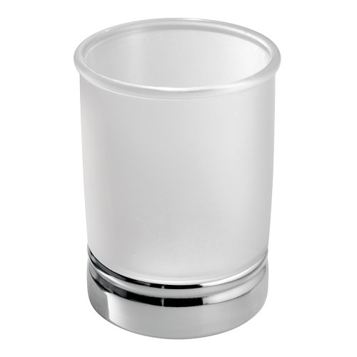 Frosted Glass Countertop - InterDesign York Tumbler Cup for Bathroom Vanity Countertops, Clear Frosted/Chrome