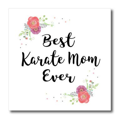 3dRose InspirationzStore - Love Series - Floral Best Karate Mom Ever with Arty Pretty Watercolor Pink Flowers - 8x8 Iron on Heat Transfer for White Material (ht_311987_1)