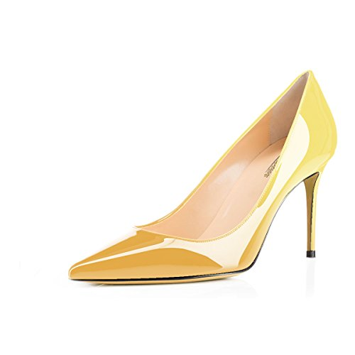 Modemoven High Heels Yellow 85mm Women's Stiletto Pointed on Business Shoes Office Slip Sexy Pumps Toe BSB8z